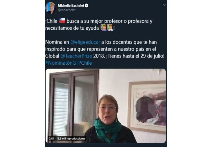 Pantallazo video twitter Michelle Bachelet
