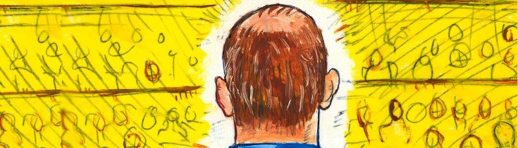 Ilustración de un hombre que está de espaldas