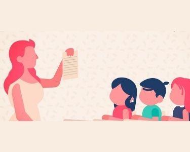 Ilustración profesora enseñando una hoja escritas a los y las estudiantes