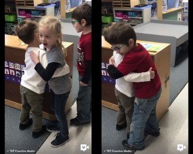Dos fotos de la captura de pantalla del video de niñas y niños