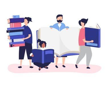 Ilustración de algunas personas sosteniendo libros gigantes