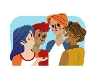 Ilustración de personas que están hablando, conversando
