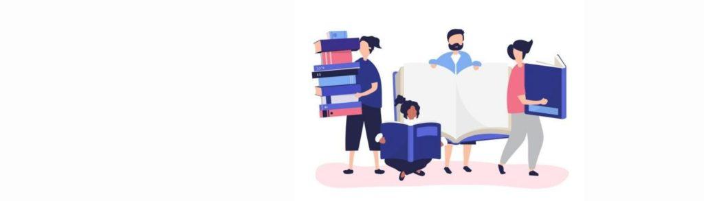 Ilustración donde aparecen personas sosteniendo libros grandes