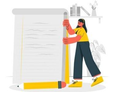 Ilustración de libreta y lápiz gigante con una chica al lado