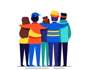 Ilustración donde aparecen amigos que están abrazados