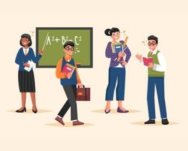 una Ilustración de profesoras y profesores
