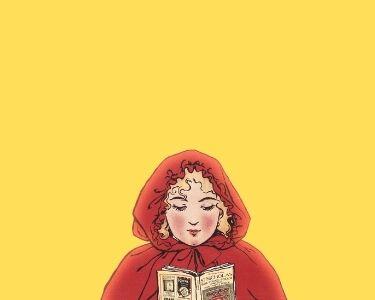 Ilustración de la caperucita roja leyendo un libro