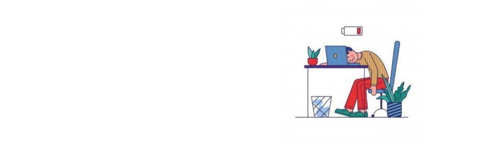 Ilustración de una persona durmiendo sobre su escritorio