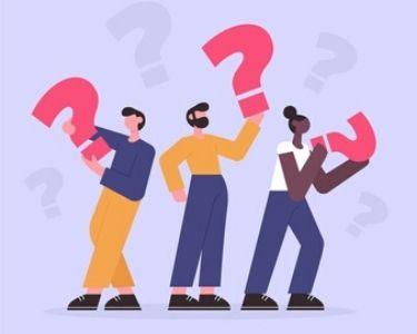 Ilustración de personas que tienen signos de interrogación