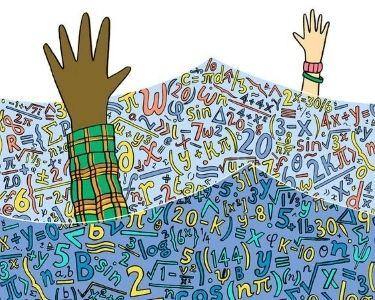 Ilustración de muchos símbolos matemáticos y diferentes manos levantadas entremedio