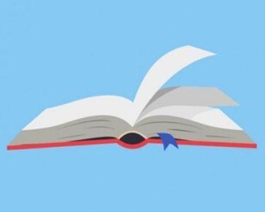 Dibujo de un libro en un fondo celeste
