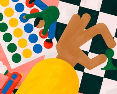 una Ilustración de mano moviendo piezas de un juego