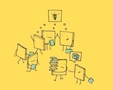 Ilustración de un equipo creando una idea