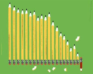 Ilustración de lápices grafitos ordenados por tamaño