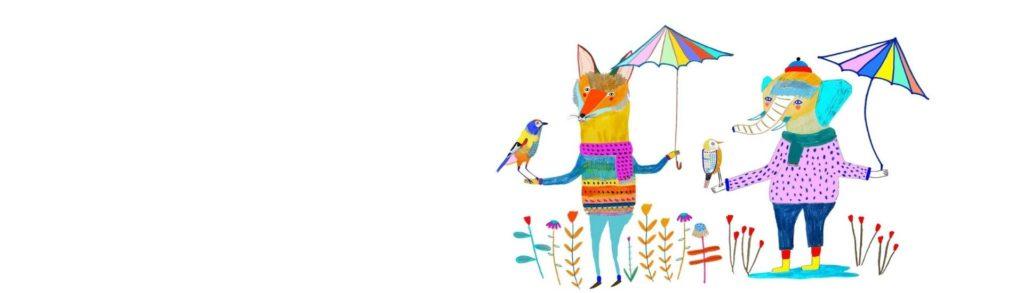 Ilustración de unos animales con unos paraguas