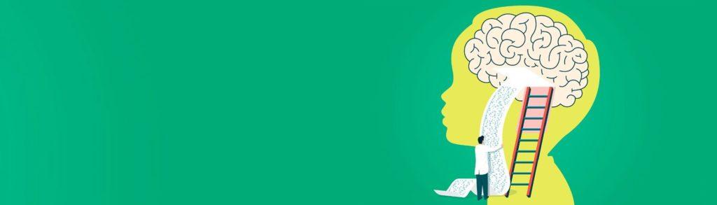 Ilustración de una persona entrando al cerebro de un niño, a través de una escalera