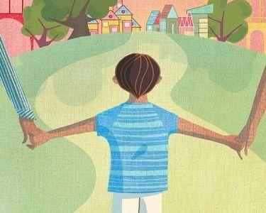 Ilustración niño o niña tomado de la mano de su madre y padre