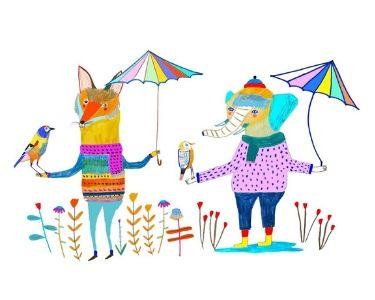 Ilustración de animales sosteniendo paraguas