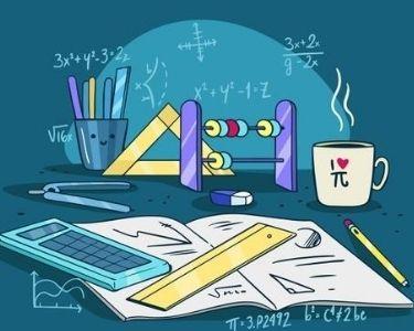 ilustracion de un cuaderno con una calculadora y tareas de matematicas