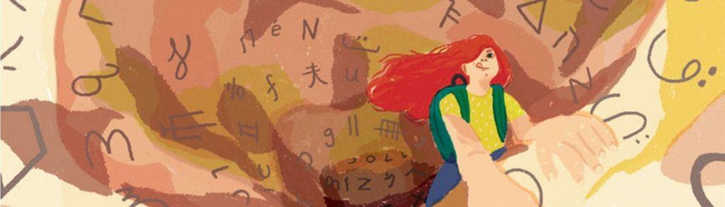 Ilustración joven que va escalando