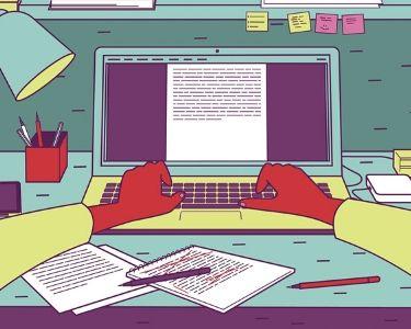 Ilustración de alguien escribiendo en un computador