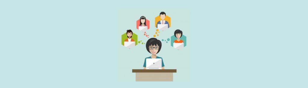 Ilustración de personas ingresando datos en un computador