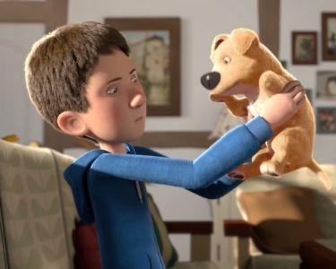 Una imagen del cortometraje del protagonista y el perro