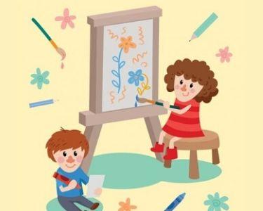 Ilustración de Niña y niño dibujando