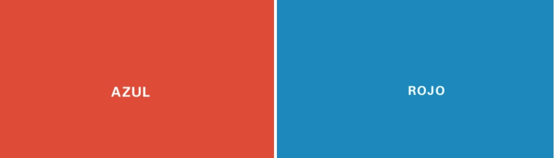 Imagen que dice rojo sobre un fondo azul y azul sobre un fondo rojo