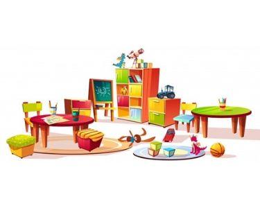 cosas que hay dentro de la sala de clases de un jardín infantil