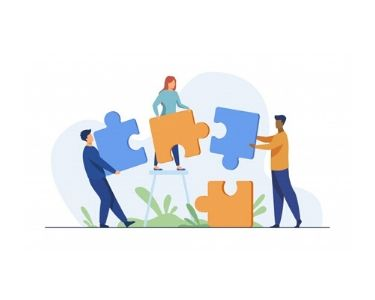 Ilustración personas armando un puzzle