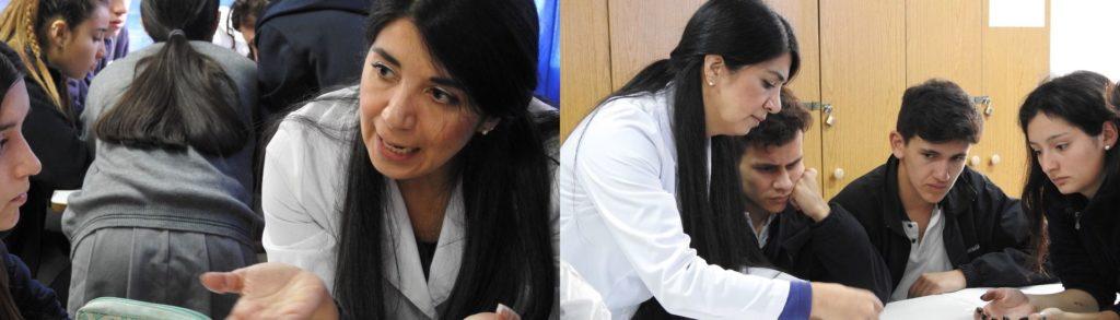 Profesora Karin González en clases de biología