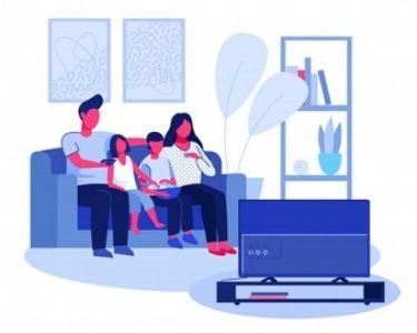 Ilustración de una familia viendo una película en televisión