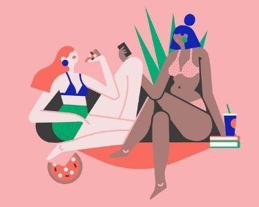 Imagen de dos mujeres con cuerpos muy distintos a la norma, para hablar de body positive