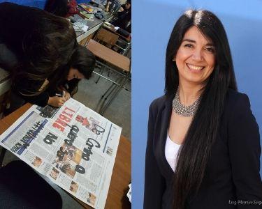 Dos fotos, profesora karin a la derecha y a la izquierda sus estudiantas