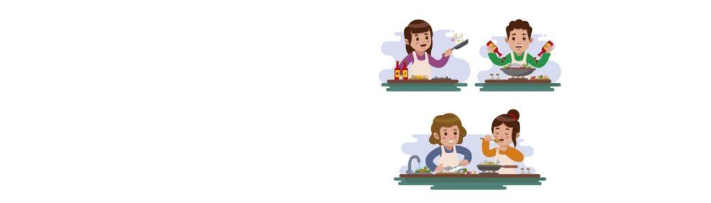 Niños y niñas cocinando