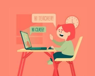 Imagen de un alumno saludando a su profesora mediante una clase en línea