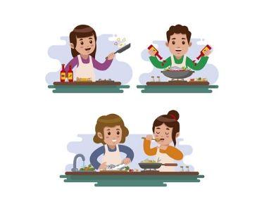 Ilustración personas cocinando