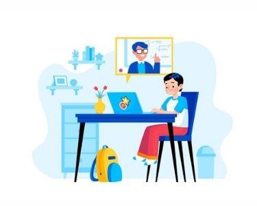Un niño frente a un computador, arriba a la derecha, se ve el rostro de un profesor. Todo ilustrado. Crédito: Freepik.