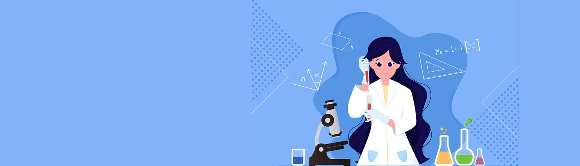 Ilustración de una niña experimentando en un laboratorio con distintas reacciones químicas, muy interesada en la ciencia