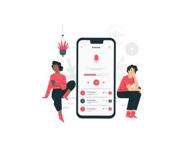 Ilustración de dos personas junto a un celular, escuchando un podcast
