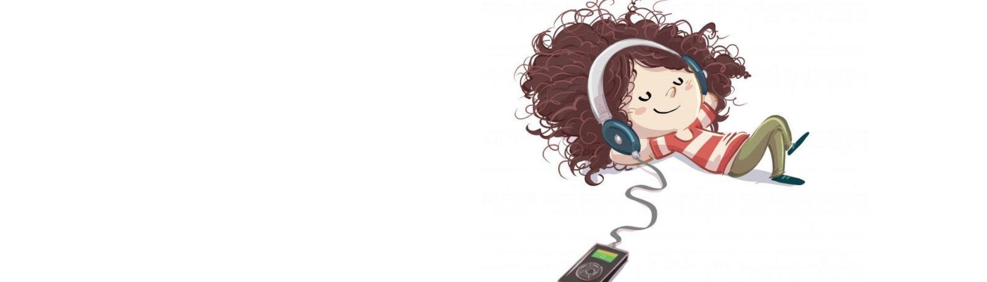 Ilustracion de una niña relajada y concentrada escuchando podcast