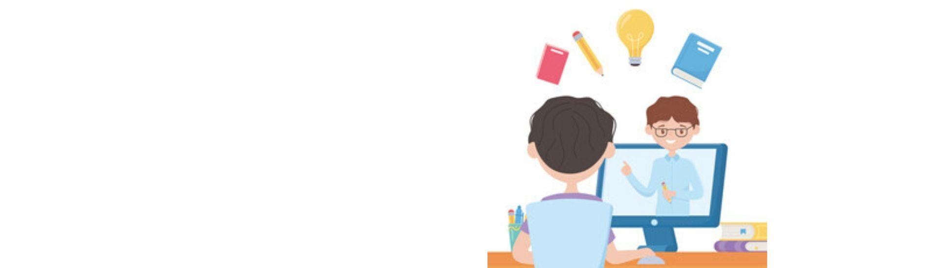 Profesor y estudiante en clase online