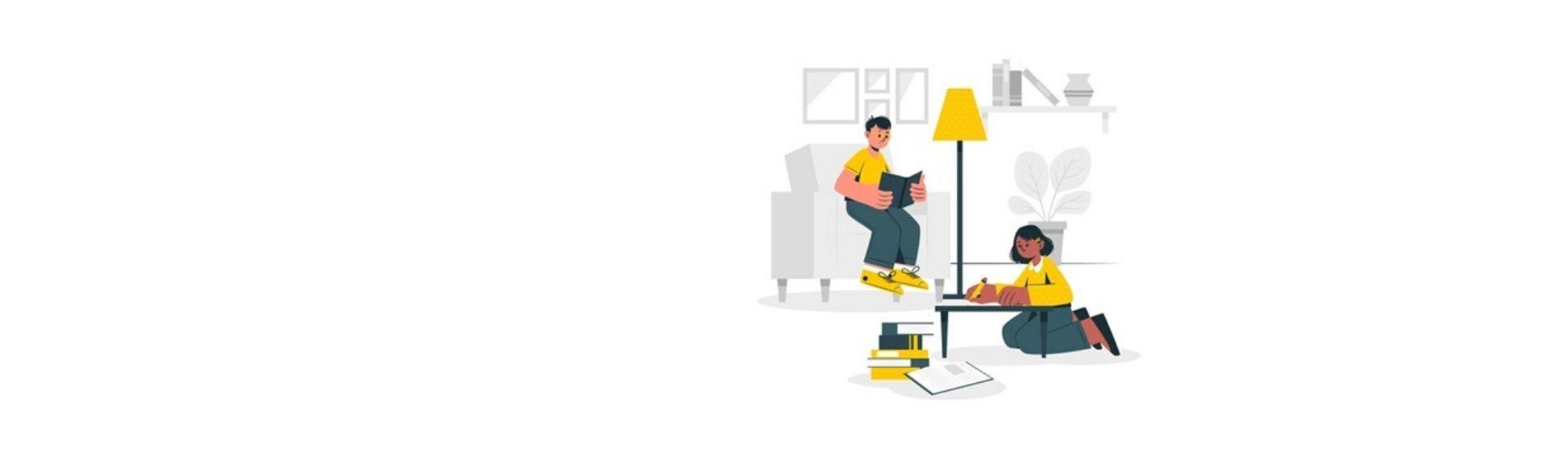 Personas estudiando en casa