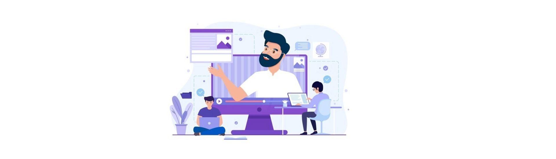 Profesor y estudiante participando en una clase online