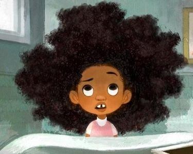 ilustración de Zuri, una niña afroamericana que tiene problemas para controlar su cabello