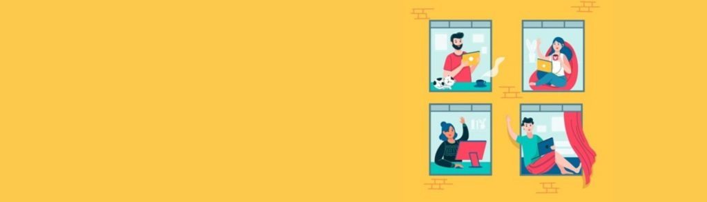 Ilustración de unas personas en su ventana utilizando computadores