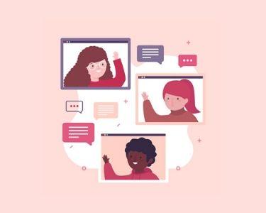Ilustración de personas comunicándose por internet