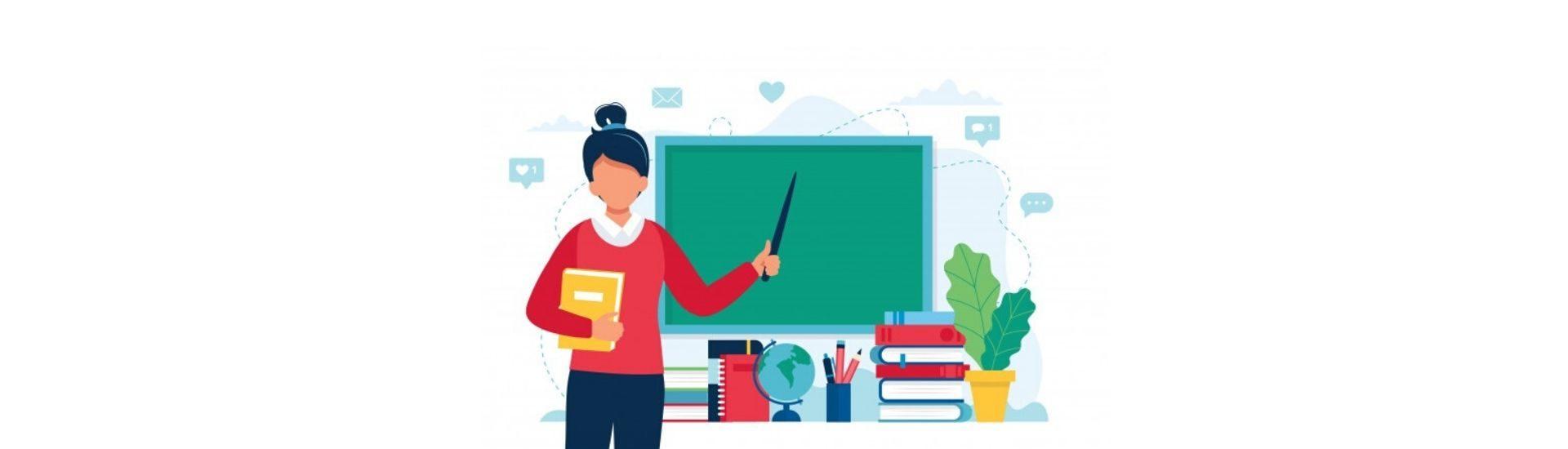 Profesora que realiza una clase y utiliza la pizarra para dar ejemplos.