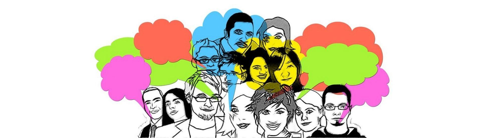 Dibujo de rostros de diferentes personas